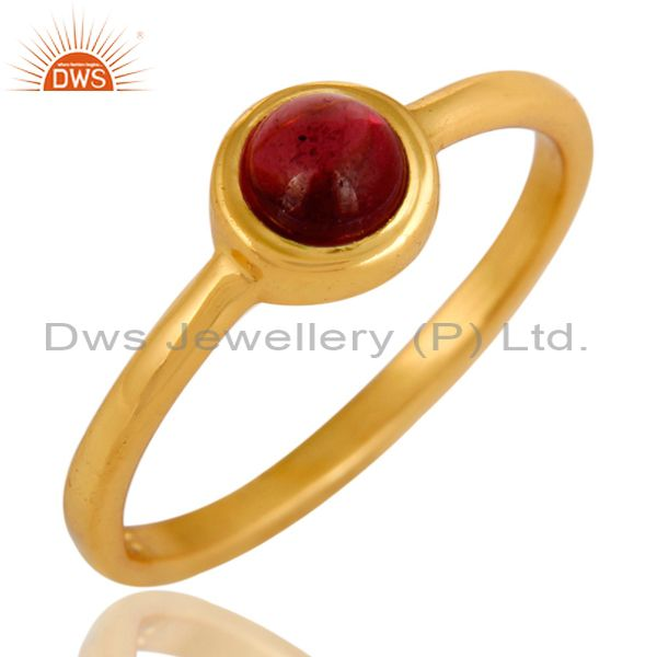 14K Yellow Gold Plated Sterling Silver Garnet Gemstone Stacking Ring