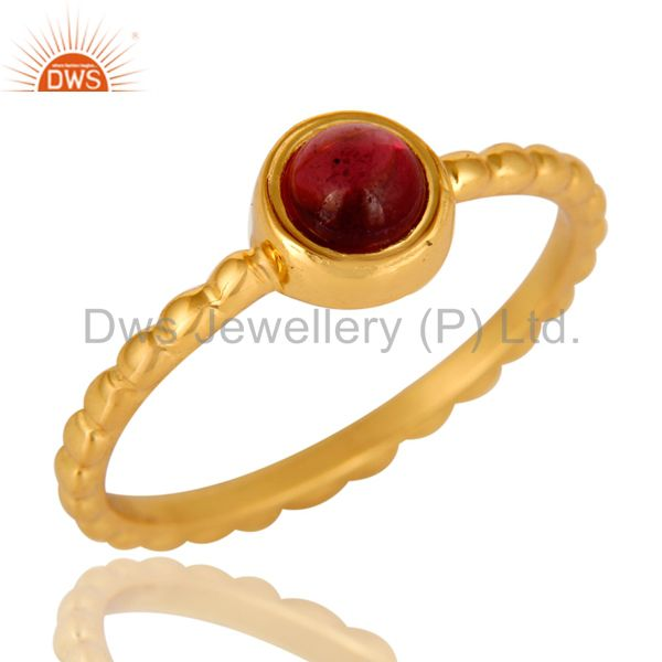 Shiny 14K Yellow Gold Plated Sterling Silver Garnet Gemstone Stackable Ring
