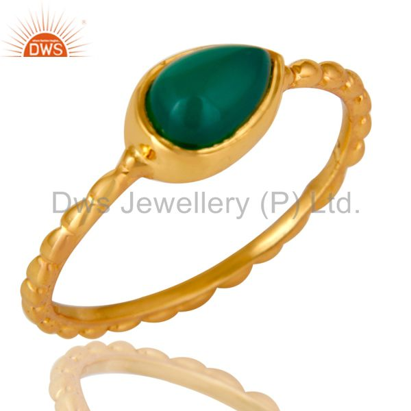 14K Yellow Gold Plated Sterling Silver Green Onyx Hammered Stacking Ring