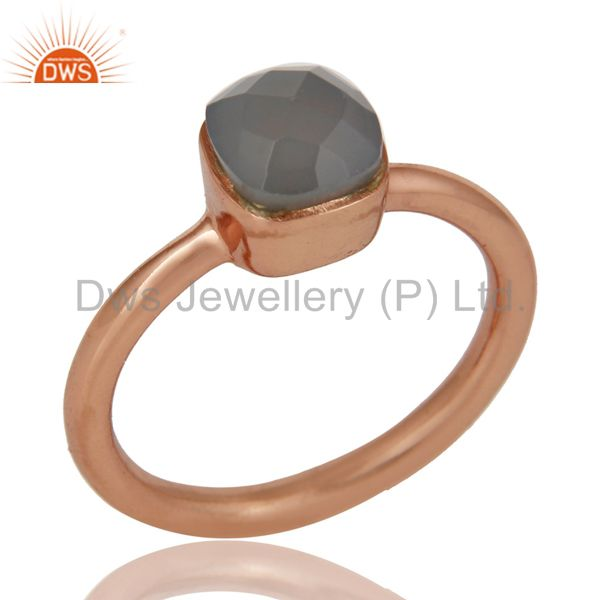 22K Yellow Gold Plated Sterling Silver Gray Chalcedony Gemstone Stackable Ring