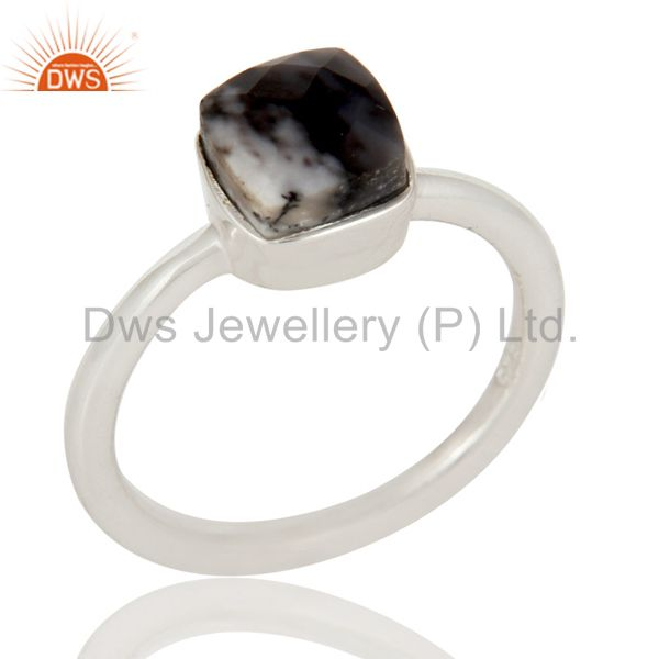 Handmade Sterling Silver Dendritic Opal Gemstone Stackable Ring