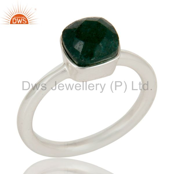 925 Sterling Silver Indian Green Jade Gemstone Stackable Ring