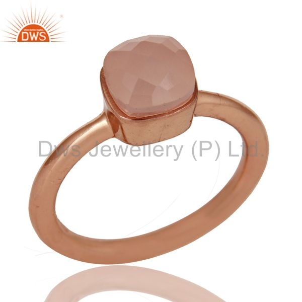 18K Rose Gold Plated Sterling Silver Rose Chalcedony Gemstone Stackable Ring