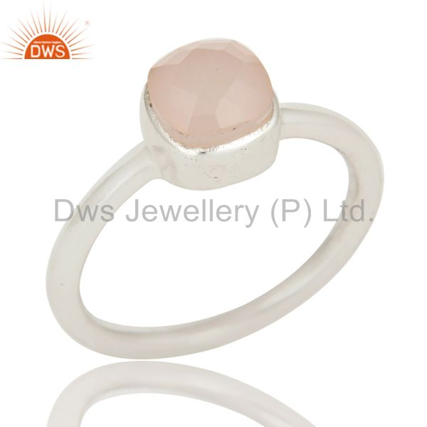 925 Sterling Silver Faceted Rose Quartz Gemstone Stackable Ring