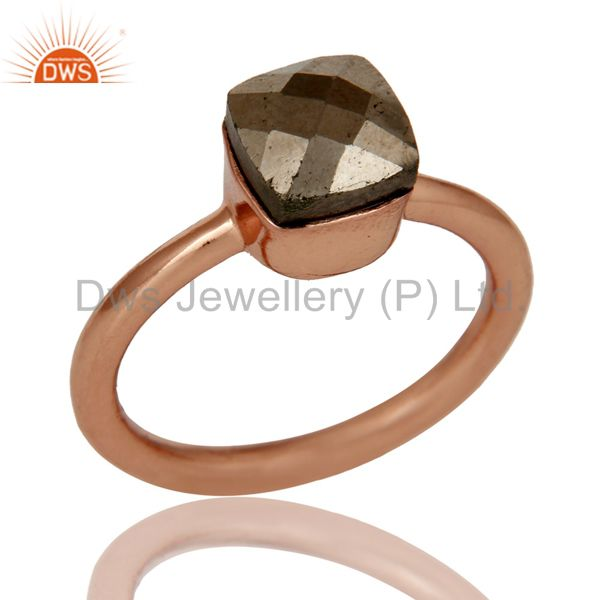18K Rose Gold Plated Sterling Silver Pyrite Gemstone Stackable Ring
