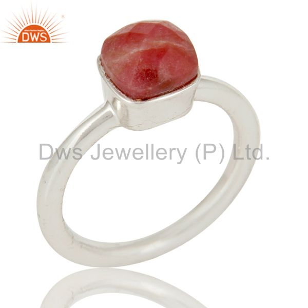 Handmade 925 Solid Sterling Silver Rhodonite Gemstone Stackable Ring