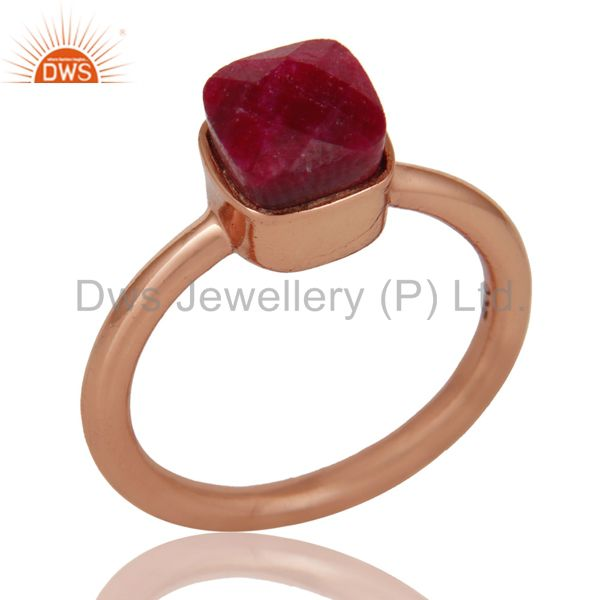 18K Rose Gold Plated Sterling Silver Natural Ruby Gemstone Stackable Ring