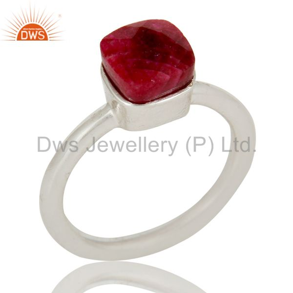 925 Solid Sterling Silver Natural Ruby Gemstone Stackable Ring
