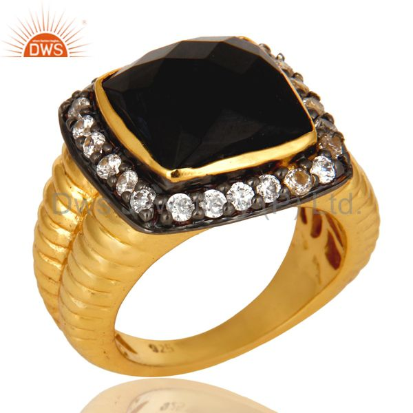 Shiny 14K Yellow Gold Plated Sterling Silver Black Onyx And CZ Cocktail Ring