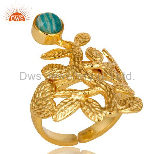 18K Yellow Gold Plated Sterling Silver Amazonite Textured Floral Designer Ring