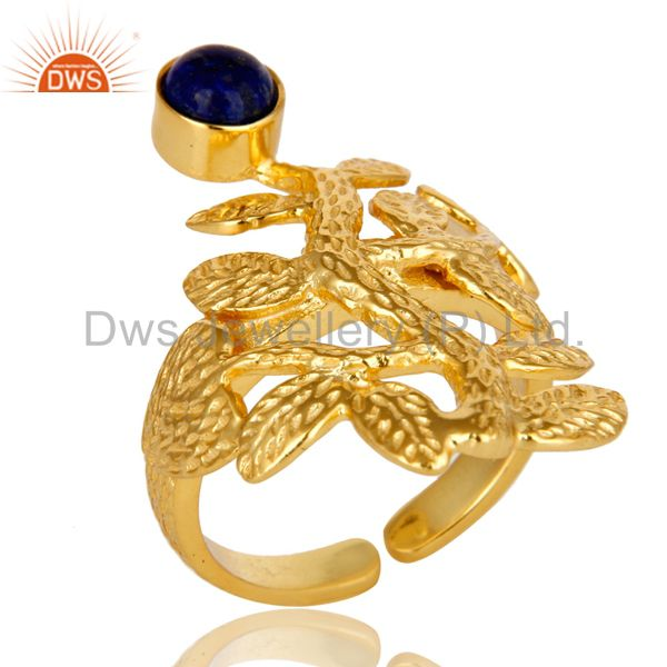 14K Yellow Gold Plated Sterling Silver Lapis Lazuli Textured Floral Design Ring