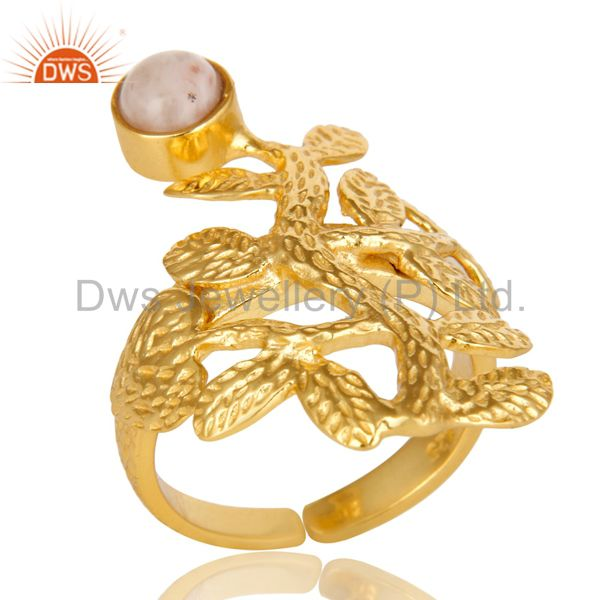 14K Yellow Gold Plated Sterling Silver Pink Opal Textured Floral Designer Ring
