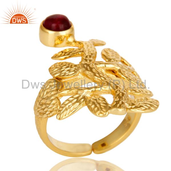 14K Yellow Gold Plated Sterling Silver Ruby Textured Floral Designer Ring