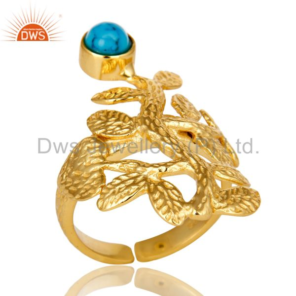 14K Yellow Gold Plated Sterling Silver Turquoise Textured Floral Designer Ring