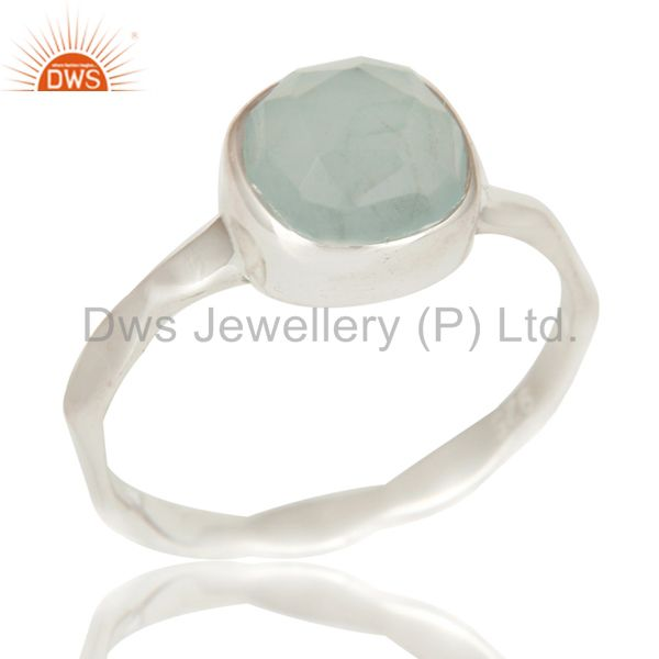 Aqua Chalcedony Solid Sterling Silver Stackable Ring