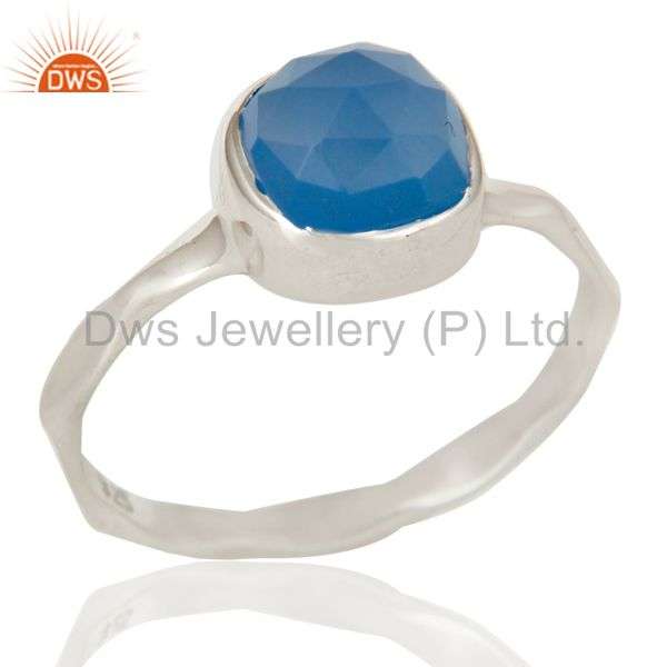 Blue Chalcedony Solid Sterling Silver Handmade Stackable Ring