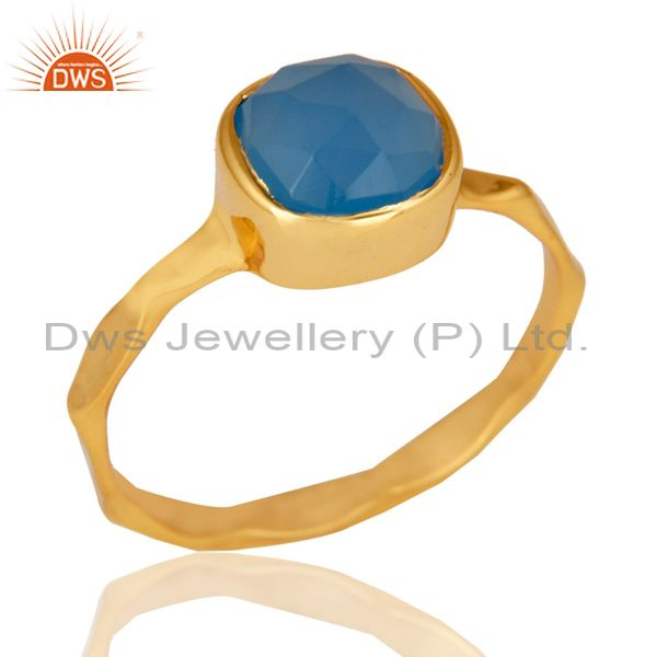 Blue Chalcedony Sterling Silver 18K Yellow Gold Plated Stackable Ring
