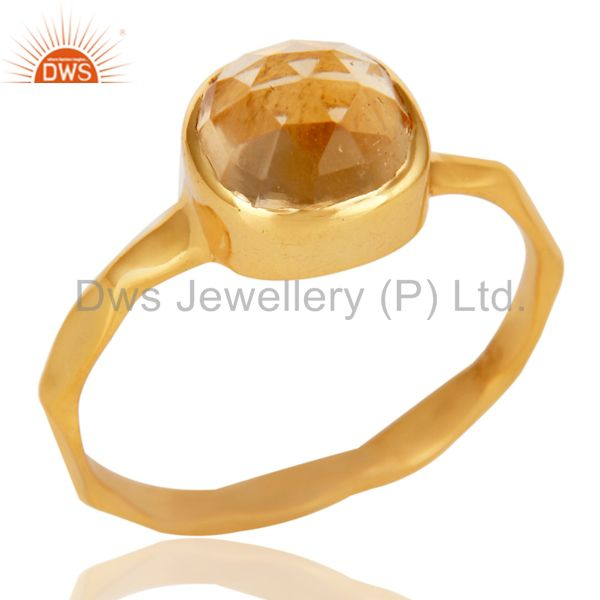 18K Yellow Gold Plated Citrine Gemstone Sterling Silver Stackable Ring