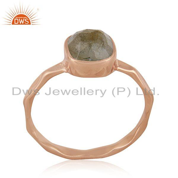 Handmade Sterling Silver Rose Gold Plated Labradorite Gemstone Ring Manufacturer
