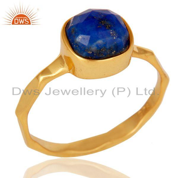 Sterling Silver Lapis Lazuli 18K Yellow Gold Plated Stackable Ring Hamdmade Ring