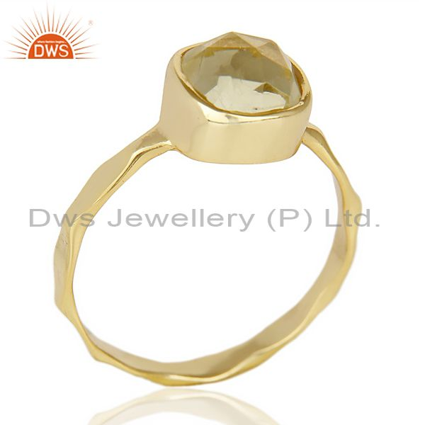 Lemon Topaz Cushion Shape Studded Gold Plated Hammered Ring  In Solid Silver