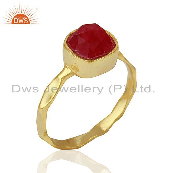 Red Aventurine Gemstone Gold Plated 925 Silver Girls Ring Supplier