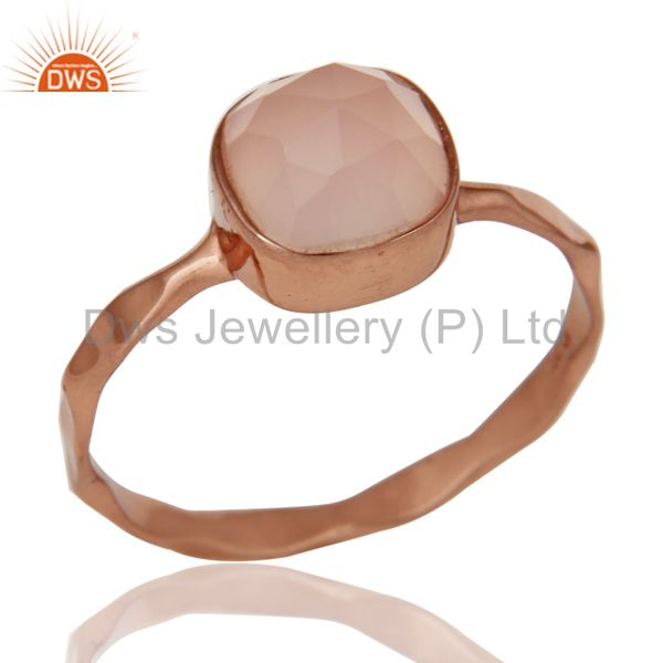 Rose Gold Plated Dyed Rose Chalcedony Sterling Silver Stackable Ring