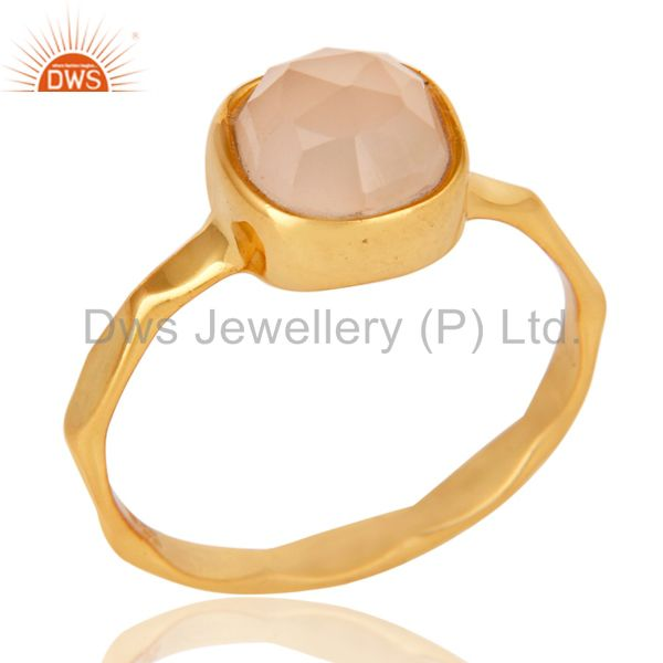 18K Yellow Gold Plated Dyed Rose Chalcedony Sterling Silver Stackable Ring