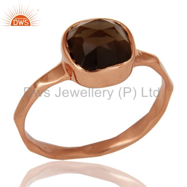 Rose Gold Plated Rose Cut Smokey Quartz Sterling Silver Stackable Ring
