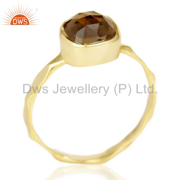 Smoky Topaz Cushion Shape Studded Gold Plated Hammered Ring  In Solid Silver