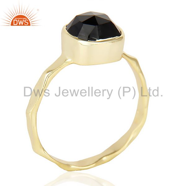 Black Onyx Cushion Shape Studded Gold Plated Hammered Ring  In Solid Silver