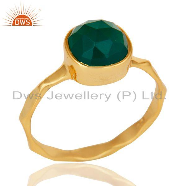 18K Yellow Gold Plated Green Onyx Sterling Silver Stackable Ring