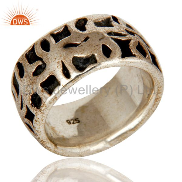 Solid Sterling Silver Oxidized Mens Ring 925 Silver Jewelry Mens Ring