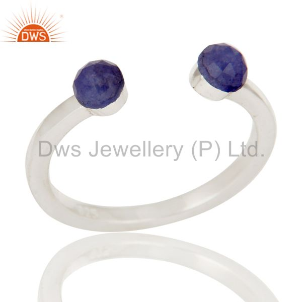 Handmade Solid 925 Sterling Silver Dyed Sapphire Openable Stackable Ring Jewelry