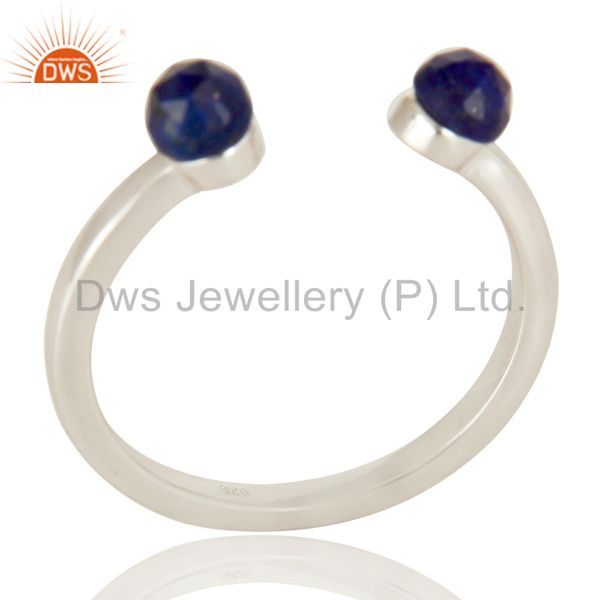 Handmade Solid 925 Sterling Silver Lapis Openable Stackable Ring Jewelry