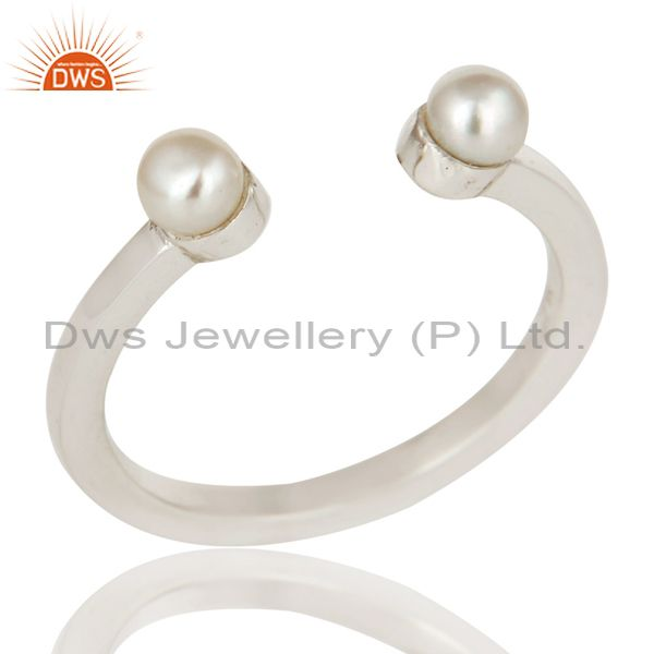 Beautiful White Pearl Bead and Sterling Silver Open Stackable Ring