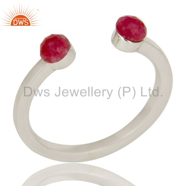 Beautiful Dyed Ruby and Sterling Silver Open Stackable Ring