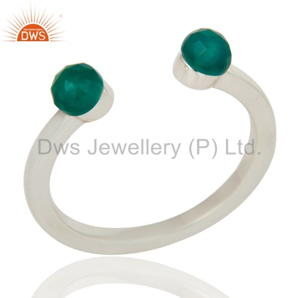 Green Onyx and Sterling Silver Open Stackable Ring