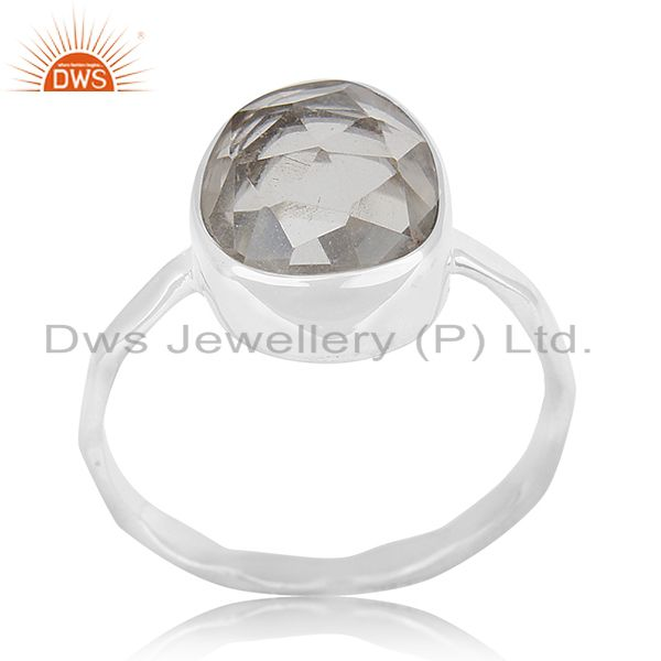 Crystal Quartz Multi Checker 925 Sterling Silver Ring Manufacturer for Brands