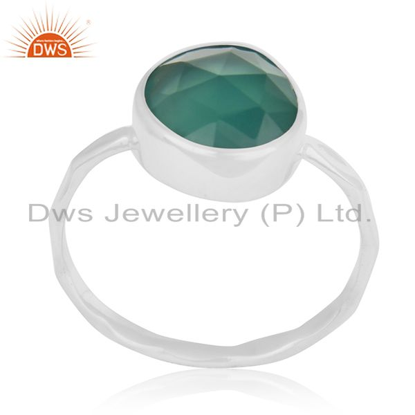 Bezel Set Green Onyx Gemstone 925 Sterling Silver Ring Jewelry Wholesale