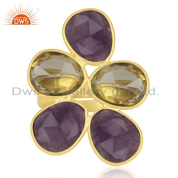 Lemon Topaz and Amethyst Gemstone 925 Silver Gold Plated Cocktail Ring Wholesale