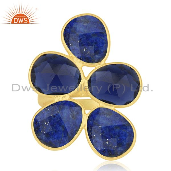 Lapis Lazuli and Blue Corundum Gemstone Sterling Silver Gold Plated Ring