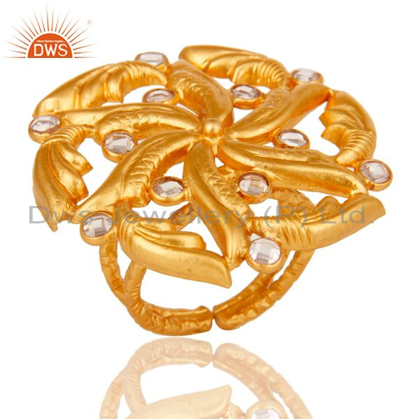 Top Quality 22k Gold Plated White Zircon 925 Sterling Silver Ring Jewelry