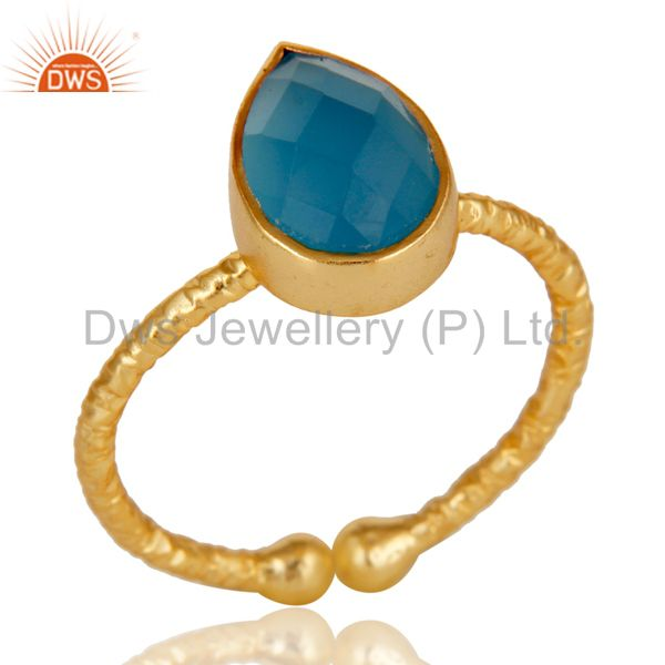 18k Gold Plated 925 Sterling Silver Stackable Ring with Chalcedony