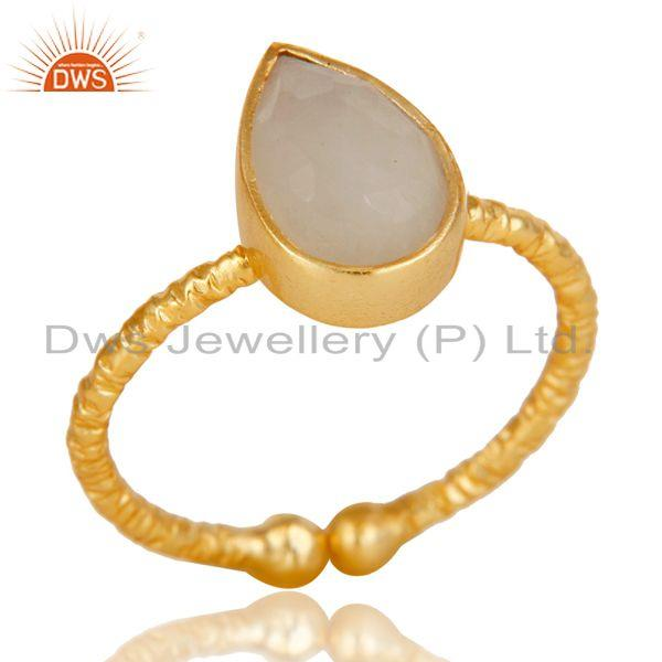 18k Gold Plated Sterling Silver Stackable Ring with Rainbow Moonstone