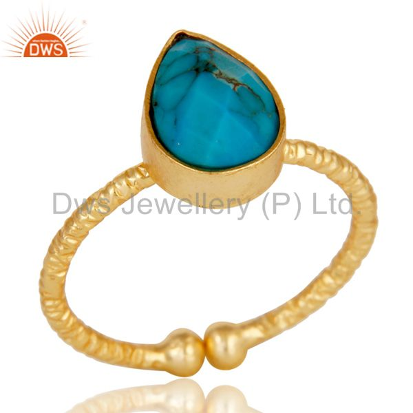 18k Gold Plated Sterling Silver Stackable Ring with Turquoise