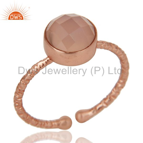 18K Rose Gold Plated 925 Sterling Silver Dyed Chalcedony Gemstone Statement Ring