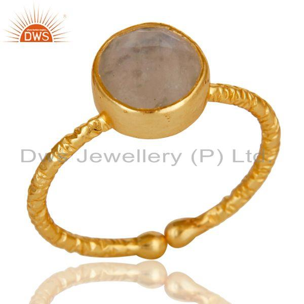 18k Gold Plated Sterling Silver Simple Setting Ring with Moonstone