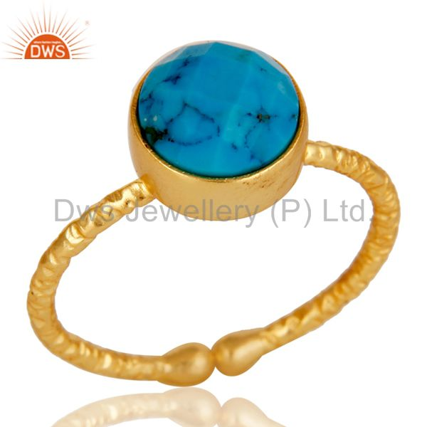 18k Gold Plated Sterling Silver Simple Setting Ring with Turquoise