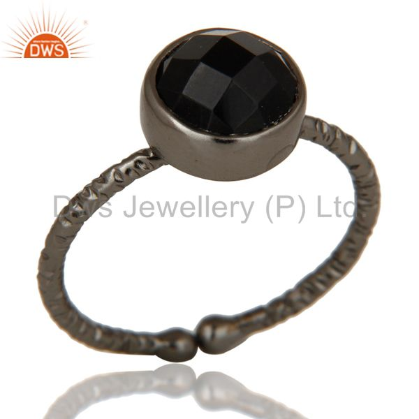 Black Oxidized Sterling Silver Simple Setting Ring with Black Onyx